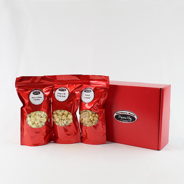 Popcorn Favorites Trio - Salted Caramel, Ginger Ale & Buttery White Cheddar