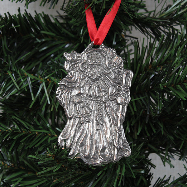 Ornament, Traditional Santa, Pewter
