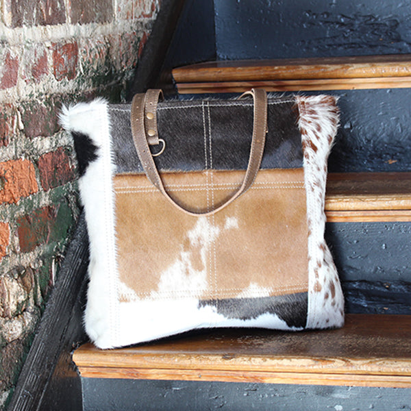 "Front Pocket Multi-Cowhide Tote, Cowhide Leather, 19"" x 15"""