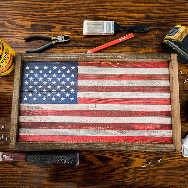 50 Star American Flag, Wood Sign