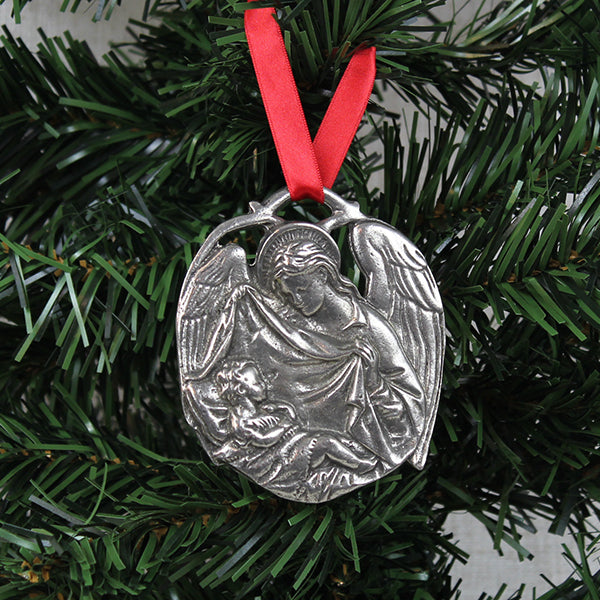 Ornament, Angel with Baby Jesus, Pewter