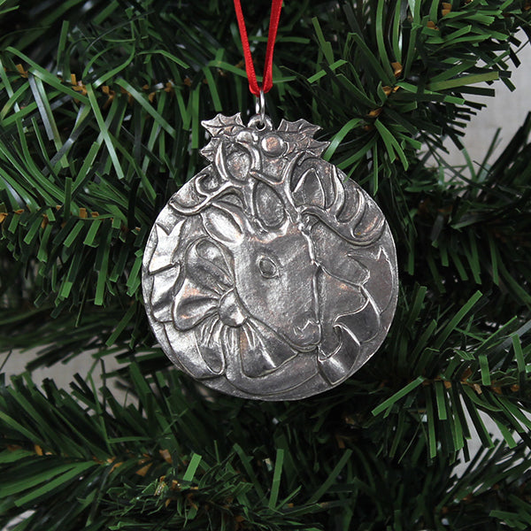 Ornament, Round Reindeer, Pewter