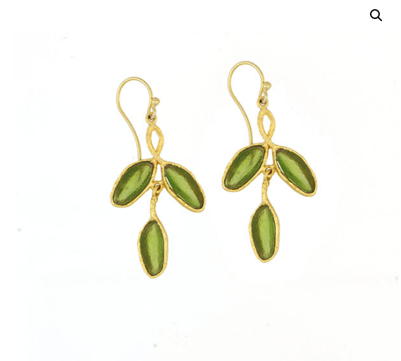Sage 3 Leaf Drop Earrings, Bronze and Glass