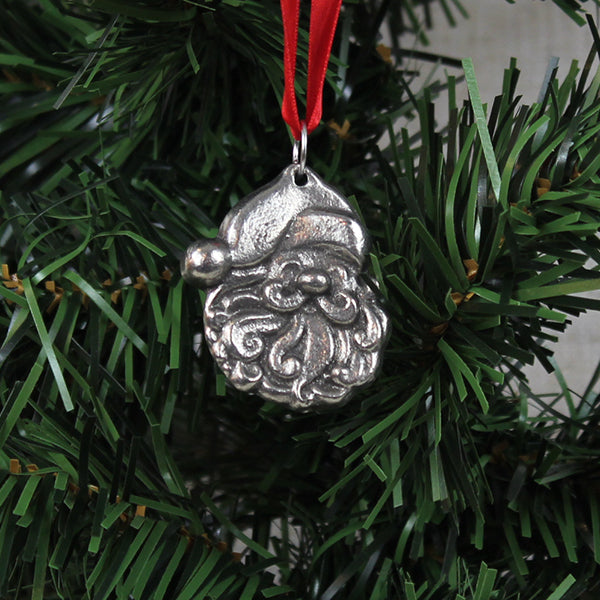 Ornament, Small Santa Face, Pewter