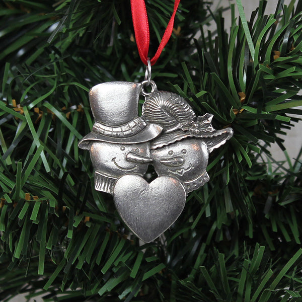Ornament, Mr and Mrs Snowman, Pewter