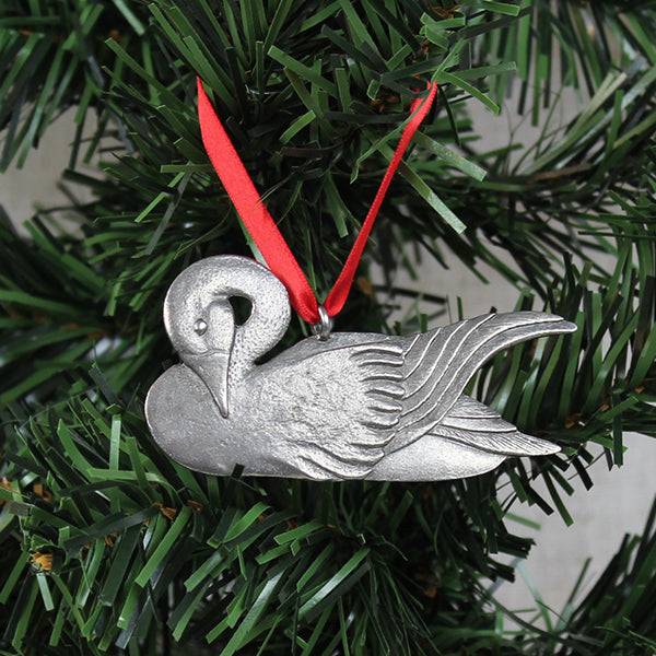 Ornament, Graceful Swan, Pewter
