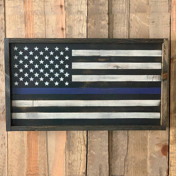 Police Officers Thin Blue Line Flag Wood Sign