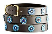 Blue+Brown Circles Beaded Dog Collar by The Kenyan Collection