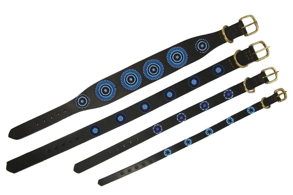 Blue+Brown Circles Beaded Dog Collar Widths by The Kenyan Collection