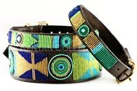 Peacock Beaded Dog Collar by The Kenyan Collection