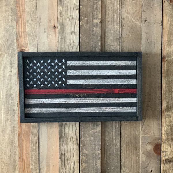 Firefighters Thin Red Line Flag Wood Sign