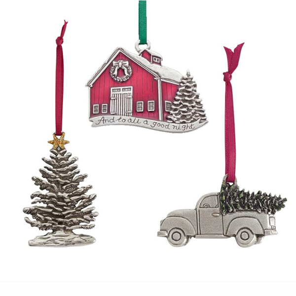 Traditions Ornament Collection, Pewter, Set of 3