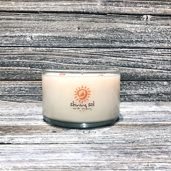 Shining Sol Tropical Teakwood Scented Soy Candle - Large 3 Wick Candle
