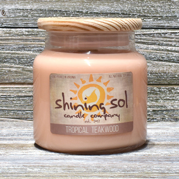 Shining Sol Tropical Teakwood Scented Soy Candle -  Large Jar