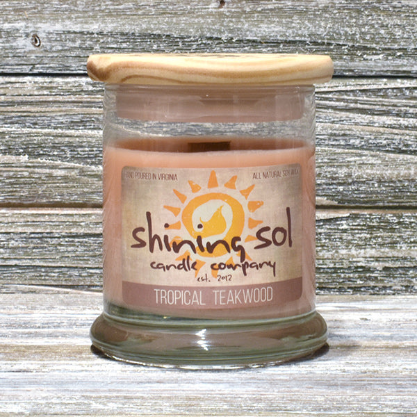 Shining Sol Tropical Teakwood Scented Soy Candle - Medium Jar