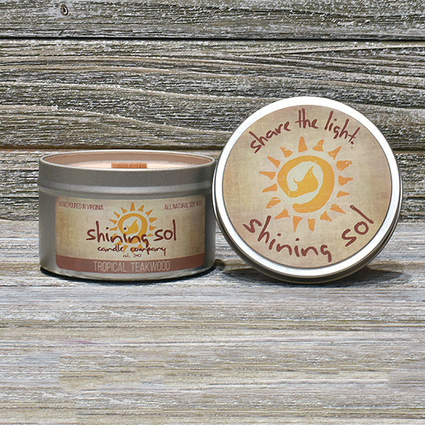 Shining Sol Tropical Teakwood Scented Soy Candle - Travel Tin