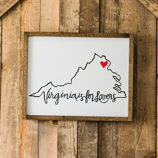 """Virginia is for Lovers"" Wood Sign, 20"" x 16"""