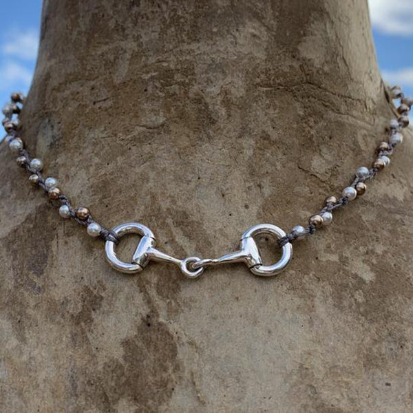 Egg Butt Snaffle Bit Necklace, Sterling Silver, 16""