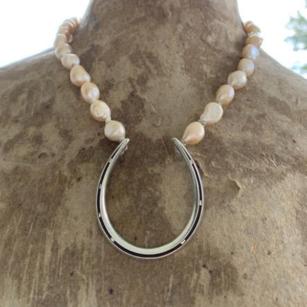 Big Luck on Big Pearls, Sterling Silver, Pearls, 18""