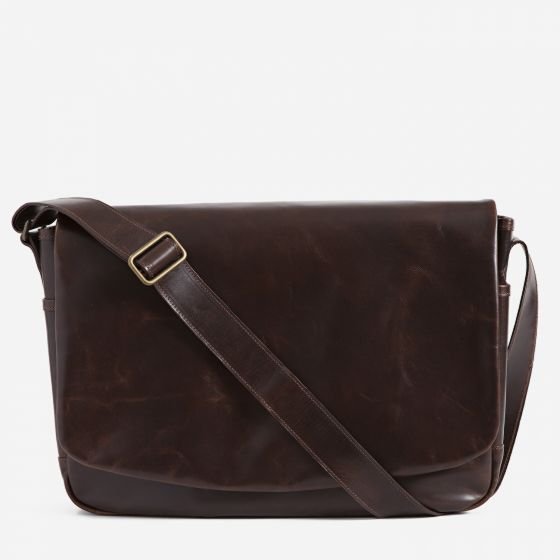 Sackett Messenger Bag in Brompton Brown from Moore & Giles
