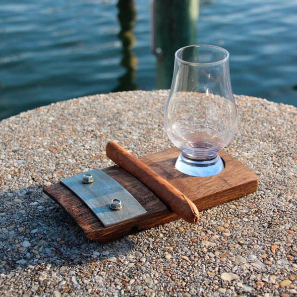 Single Glencairn Glass Coaster with Cigar Holder from Barrel-Art
