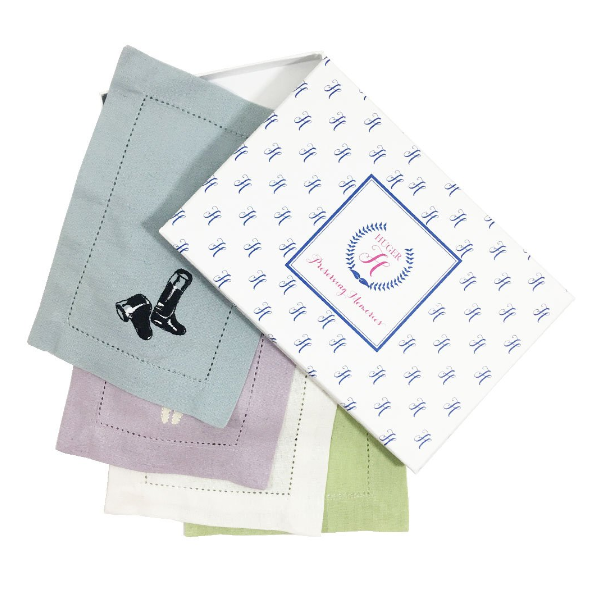 Huger Memories Embroidered Cocktail Napkins - Boxed Set of 4 - Equestrian Motif