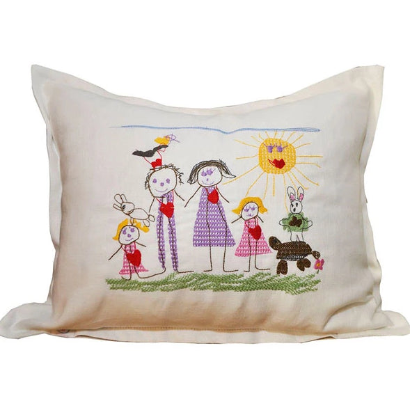 Hand-Drawn & Stitched Children's Drawing Pillows from Huger Memories
