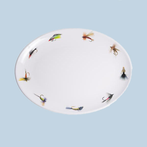 Fishing Flies Serving Platter, Melamine, 16""