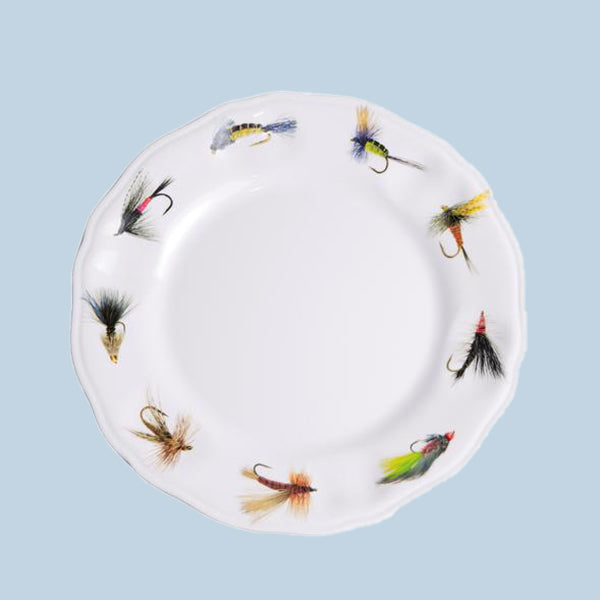 Fishing Flies Plate, Melamine, 9""