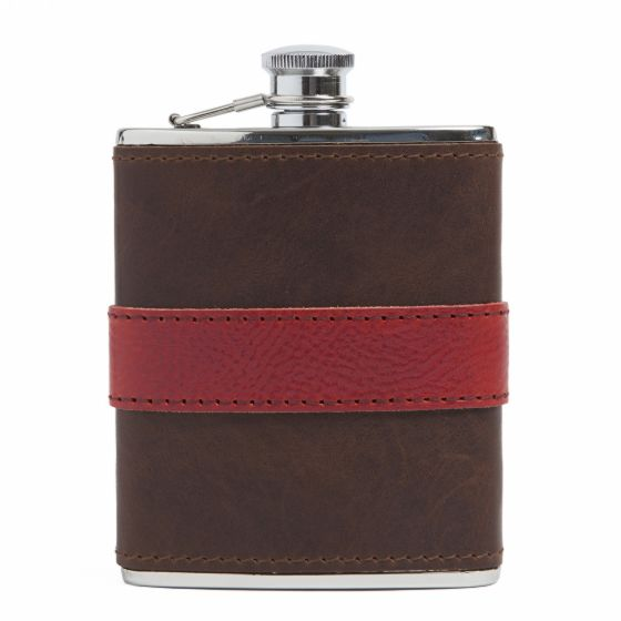 Leather-Wrapped Flask from Moore & Giles in Red