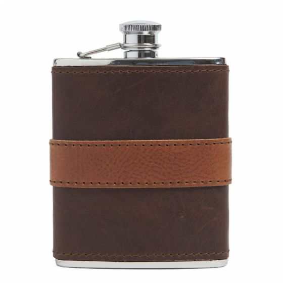 Leather-Wrapped Flask from Moore & Giles in Cognac
