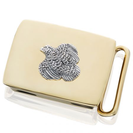 Brass with Sterling Quail Belt Buckle by Grainger McKoy