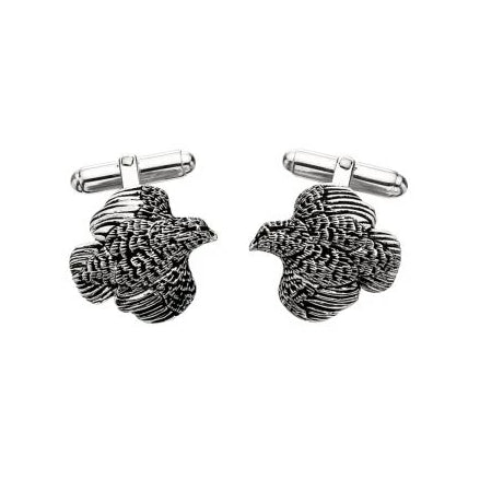 Quail Cufflinks in Sterling Silver by Grainger McKoy