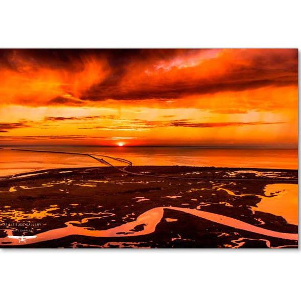 """Red Sky at Night"" limited-edition metal panel print from At Altitude Gallery"