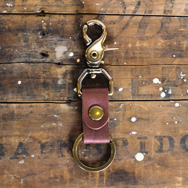 Lineage Goods Leather Key Clip in Brown