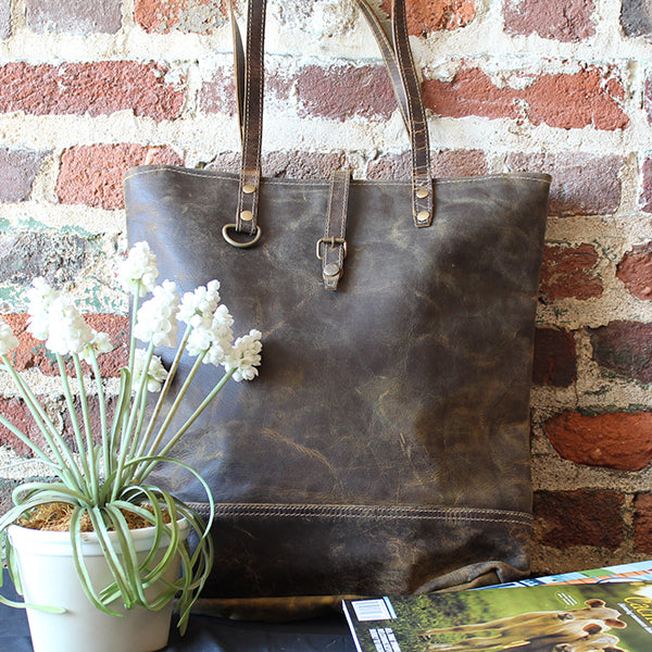 Fleece Tote in Distressed, Premium Leather