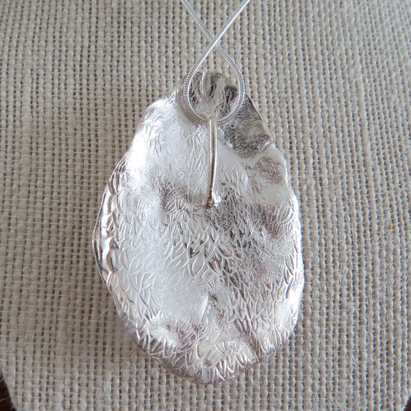 Silver Oyster Shell Pendant (large) - back - by Designs from Nature