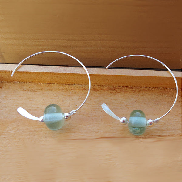 "Open Loop Earrings with Mason Jar Beads, 1"" x 1.25"""