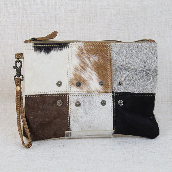 "Button Hair-On, Cowhide Leather, Wristlet, 10"" x 7.5"""