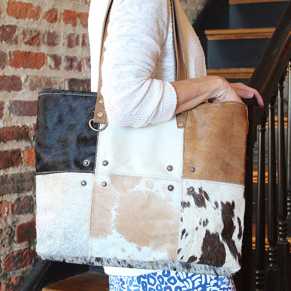 Multi-Patch Cowhide Tote