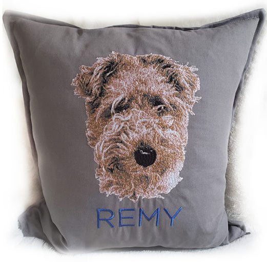Custom Embroidered Pet Portrait Pillow from The Embroidery Dad