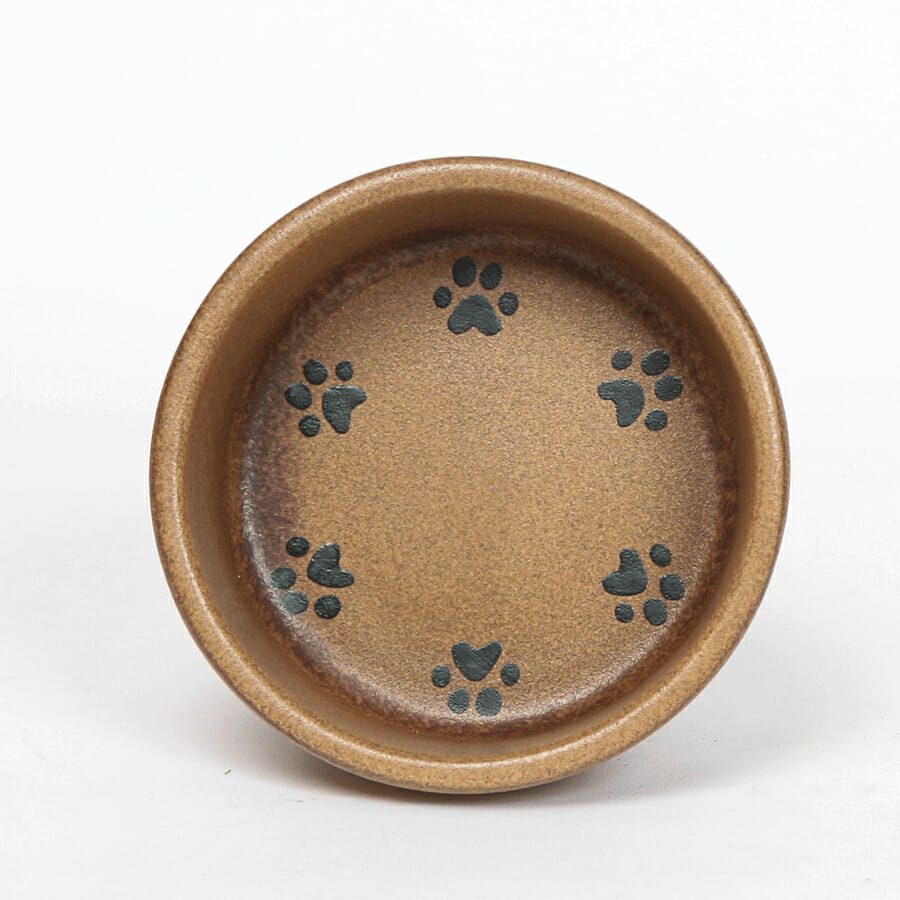 Round Prints Large Go Green Earthware Pet Bowl