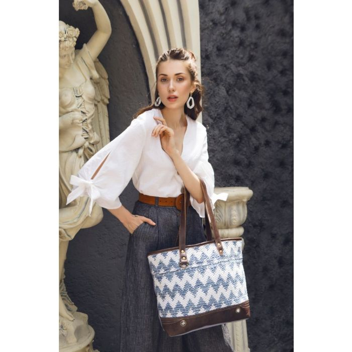 "California Vibe Tote, Canvas Leather, 18"" x 13.5"""