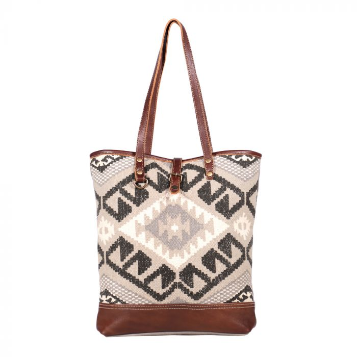 "Pure Tote Bag, Canvas Leather, 18"" x 17"""