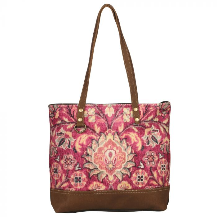 "Blossomy Pink Tote, Canvas Leather, 17"" x 13"""