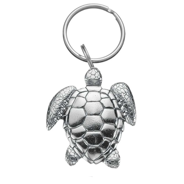 Sea Turtle Keyring, Pewter, 2""