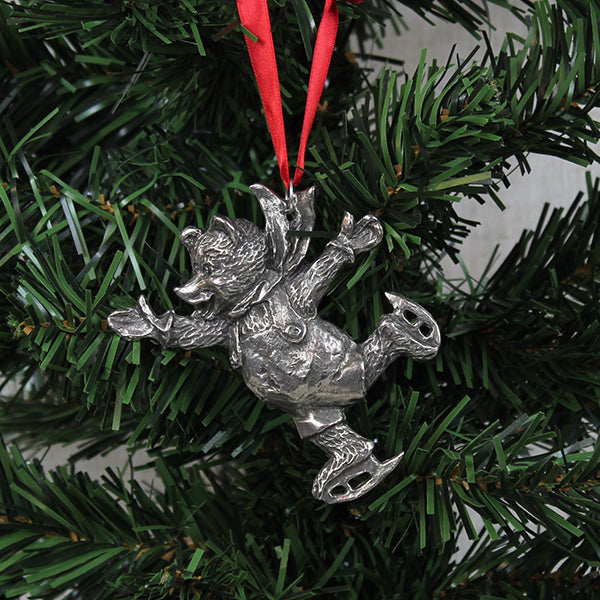 Ornament, Ice Skating Bear, Pewter