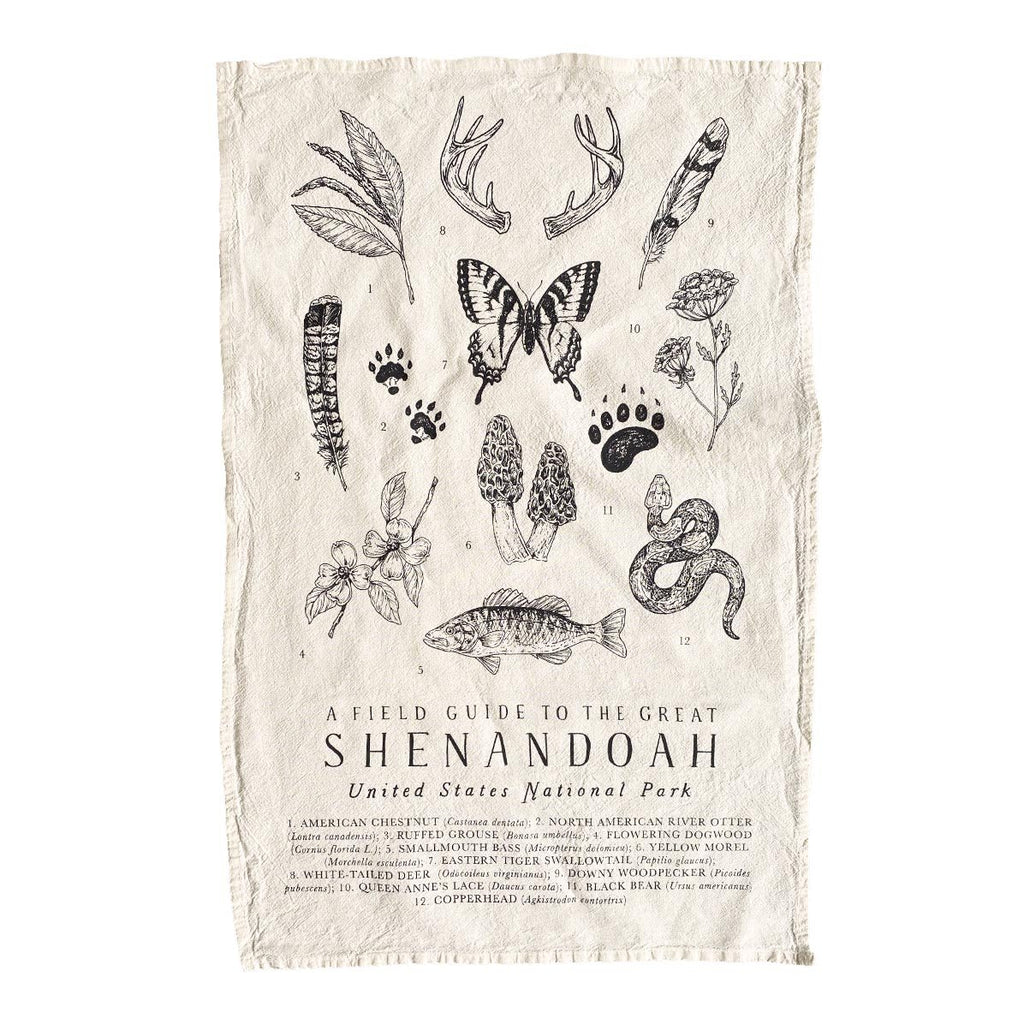 Field Guide to Shenandoah National Park Flour Sack Tea Towel