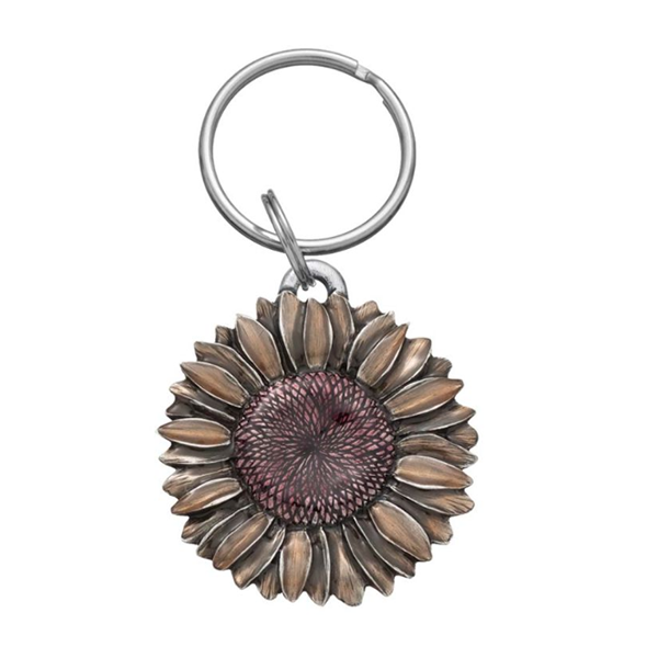 "Sunflower Summer Keyring, Pewter, 2"" Diameter"