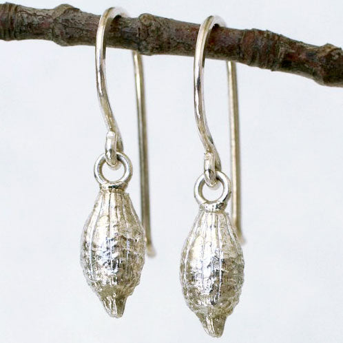 Sterling Silver Sweet Four O'Clock Seed Pod Earrings from Thicket